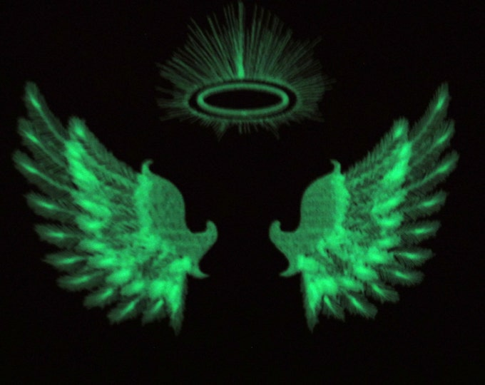 Angel wings / Glow in the dark special designed machine embroidery / sizes 4x4 and 5x7 / file  INSTANT DOWNLOAD