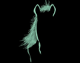 Glow in the dark horse silhouette machine embroidery designs in assorted sizes glow in the dark thread