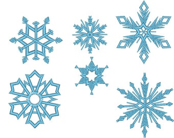 6 Snowflakes - machine embroidery design - files separately for hoop 4x4 INSTANT DOWNLOAD