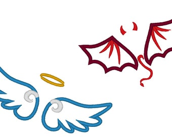 Little Angel and Little Devil wings applique and fill stitch machine embroidery designs Set of 2 types, download for hoop 4x4, 5x7 and 6x10