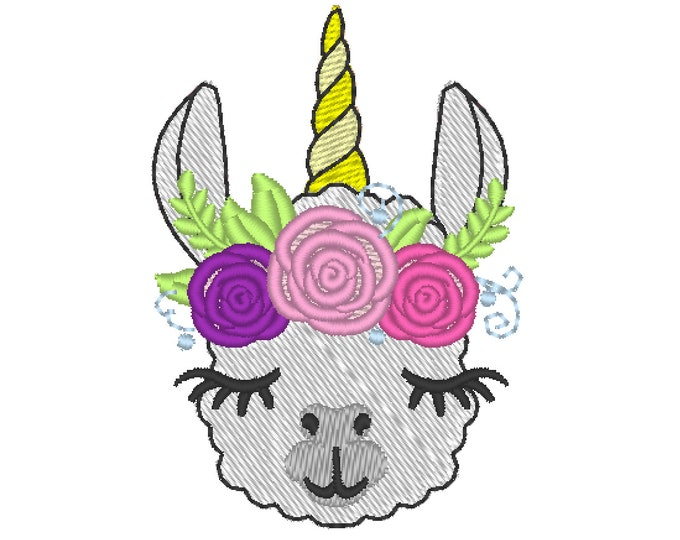 MINI Llamacorn face Llama with corn head and roses floral crown 3 roses llama unicorn rainbow machine embroidery fill stitch designs