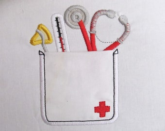 Cute doctor real pockets - INSTANT DOWNLOAD machine embroidery applique design In-the-Hoop - 4, 5, 6 and 7 inches