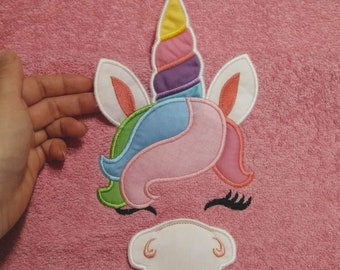 HOODED TOWELS Unicorn, hooded towel topper embroidery design Unicorn head ears horn ITH in the hoop dimensional machine embroidery applique