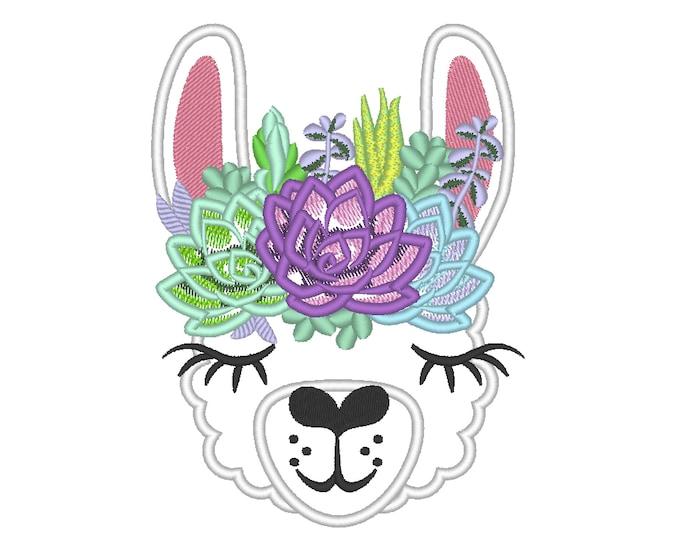 Llama or alpaca head with succulents bouquet crown applique machine applique embroidery design llama face drama succulent cactus flowers