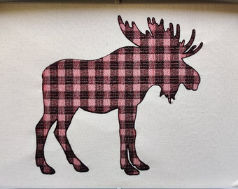 Light stitch outline Plaid Moose Silhouette gingham tartan Machine embroidery designs - 2. 3, 4, 5, 6, 7, 8 inches