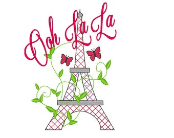 Romantic Eiffel tower - Paris - machine embroidery designs - for hoop 4x4 and 5x7 INSTANT DOWNLOAD