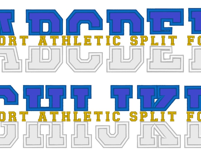Discount - 40% Block ATHLETIC Collegiate Split machine embroidery applique font, Monogramming Set - 3, 4, 5 and 6 inches height