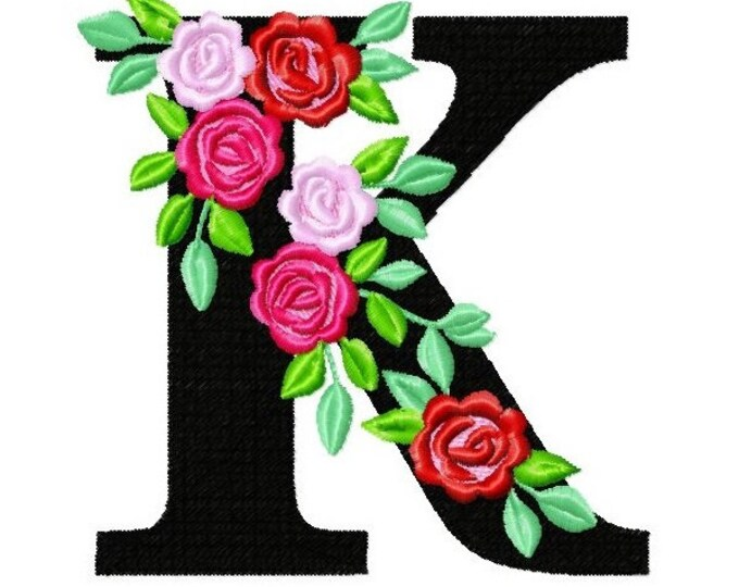 Roses floral Individual letter K garden flag monogram roses crown flowers flower Font machine embroidery design 2, 3, 4, 5, 6, 7, 8 in