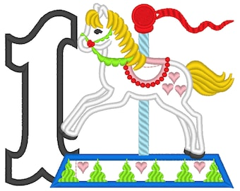 Cute Carousel Lovely Birthday Number ONE 1 only  and 2 types! machine embroidery applique designs 4x4, 5x7. Included only one number ONE
