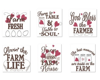 Farm fresh kitchen dish towel embroidery designs SET of 6 designs - Kitchen cute quotes - Farm to table, farmer, god bless, Farm sweet house