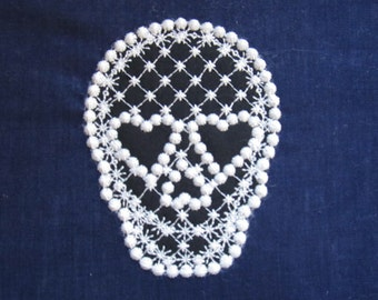 Skull, skull applique, trendy cute skull embroidery design, 4x4 5x7 applque