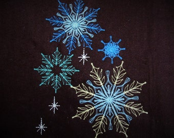 Lacy soft delicate snowflakes, snowflake frozen embroidery, curly, bling glowing snowflake twinkle twinkle snow embroidery
