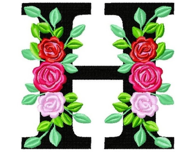 Roses floral Individual letter H garden flag monogram roses crown flowers flower Font machine embroidery design 2, 3, 4, 5, 6, 7, 8 in