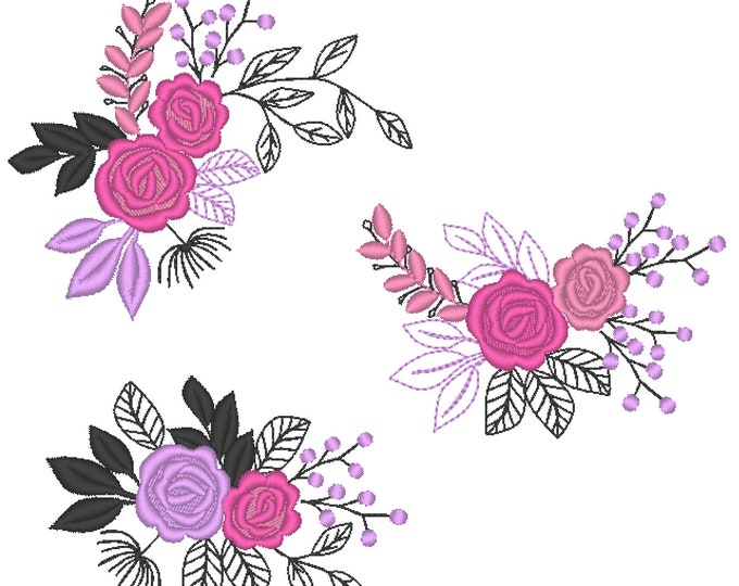 Lace urban MINI Accent flowers, 3 TYPES, machine embroidery designs, Big set of various, many sizes, mini beautiful roses, rose embroidery