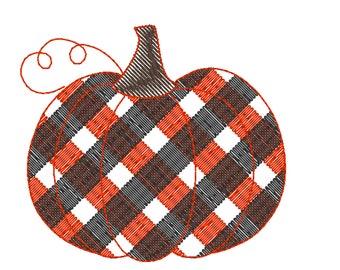 Plaid Buffalo Checked  Pumpkin Sketch Light Embroidery Design, Gingham Pumpkin Embroidery Digital Download  Embroidery Design Fall Pumpkin