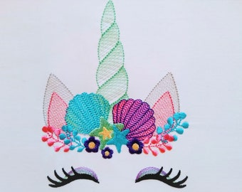 Summer mermaid Sketch stitch Unicorn head with shell and stars crown light triple bean stitch machine embroidery design Rainbow unicorn face