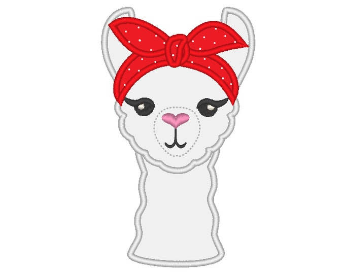 Lama with bandanna, llama, alpaca face head, heifer - machine embroidery applique designs - assorted sizes, download for hoops 4x4 5x7 6x10