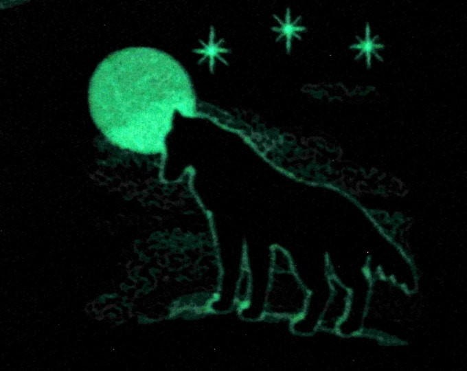 Wolf with moon / Glow in the dark special designed machine embroidery / sizes 4x4 and 5x7 / file INSTANT DOWNLOAD