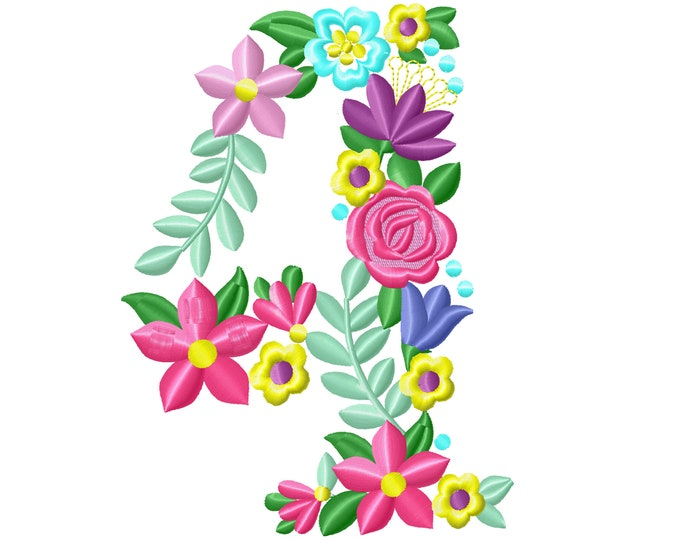 Floral letter Birthday number FOUR flowers liberty fashioned flowers Font machine embroidery design number 4 only 4, 5, 6, 7, 8 in