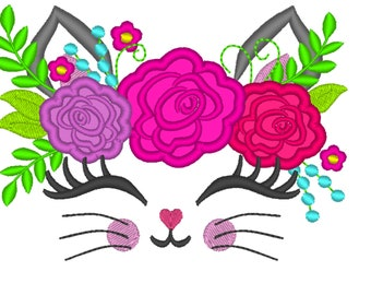 Kitty face with shabby chick roses crown applique machine embroidery applique embroidery design cat head kitty