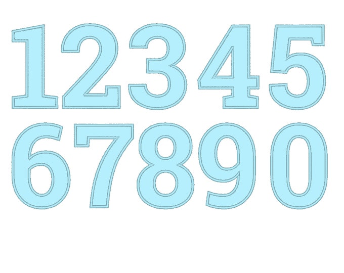 Delicate with nice wide applique satin stitch outline birthday numbers machine embroidery applique designs - 2, 3, 4, 5, 6, 7 in & BX