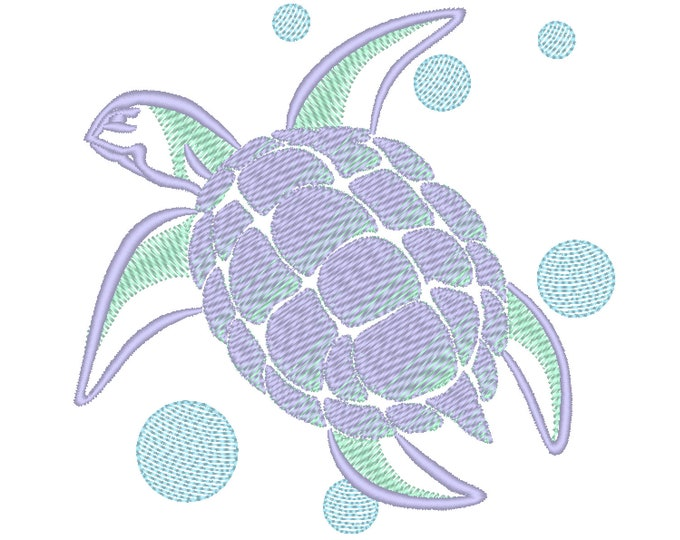 Unique Iridescent 2 Color awesome Turtle tribal machine embroidery design, No special thread, Gradient design, sizes from 2.5 up to 5 inches