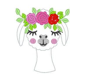 MINI Super cute Llama face with floral roses crown, three roses llama flowers crown machine embroidery designs INSTANT DOWNLOAD