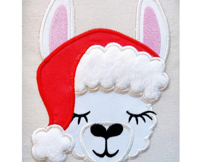 Christmas lights llama applique embroidery of Llama or alpaca with winter Santa Christmas hat machine embroidery designs drama llama