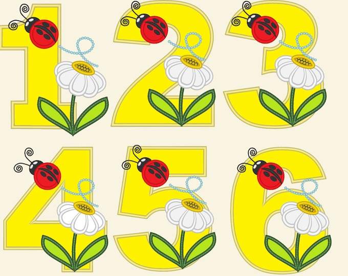 Cute Ladybug Birthday Numbers , machine embroidery applique designs - 4, 5 and 6 inches