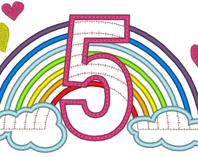 Cute Rainbow Birthday Number 5 FIVE only machine embroidery applique designs, sizes 5, 6 and 7 inches INSTANT DOWNLOAD