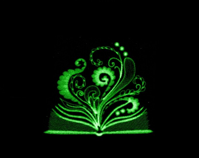 Magic glow book / Glow in the dark special designed machine embroidery / sizes 4x4 and 5x7 / file  Book of Shadows embroidery artapli