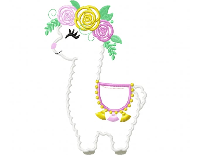 Little Baby llama with flowers floral crown roses Applique Design Baby lama machine embroidery applique designs 5x7 6x10