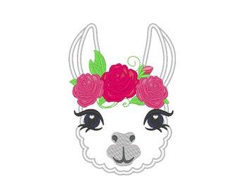 Pretty eyes llama alpaca head with shabby chick fill stitch roses crown applique machine embroidery designs applique embroidery llama face