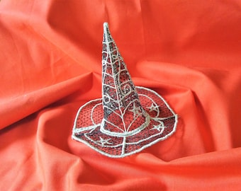 Witch Lace Hat with little stars and spider web FSL, Free standing embroidery design  4x4  and 5x7 Used with water soluble stabilizer