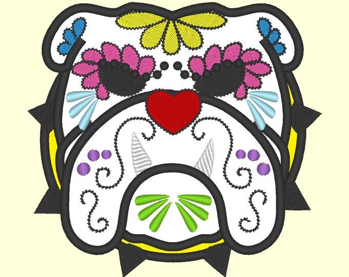 English bulldog Sugar Skull applique design, dog skull embroidery,  4x4, 5x7