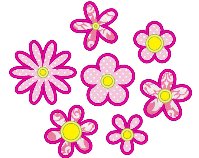 Flowers for Summer, beautiful flowers applique collection / 7 different types & multiple sizes / flowers applique designs
