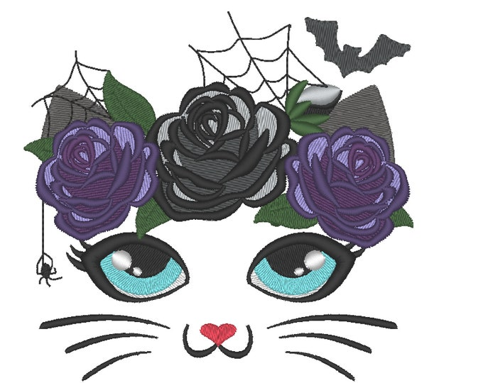 Cat black kitty Halloween witch hat witchy spooky Pretty eyes cat with shabby chick roses crown machine embroidery design