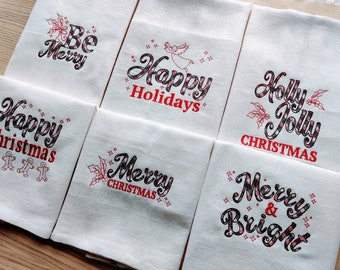 Light Pack 2 Happy Merry Christmas Holydays Kitchen dish towel quotes 6 pcs sayings machine embroidery designs for hoop size 4x4, 5x7, 6x10
