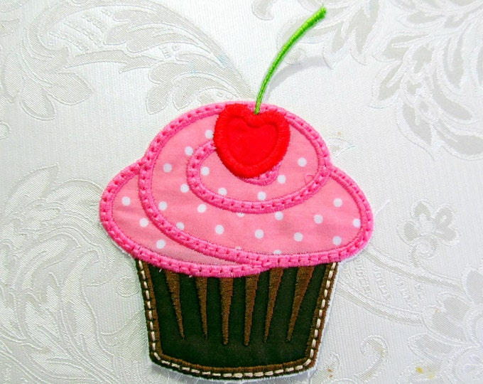 Birthday Cupcake Cherry Applique Machine Embroidery Design  - INSTANT DOWNLOAD  3, 3 1/2, 4, 5 inches