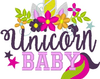 Unicorn baby Embroidery design 4x4 5x7 Unicorn thing, beach embroidery, summer, vacation, unicorn embroidery, unicorn horn face floral crown