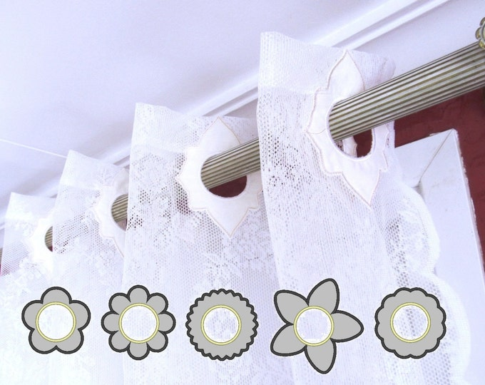 """Curtain holes - Flowers - 6 styles - """"In The Hoop"""" machine embroidery design, ITH project, for hoop 4x4"""