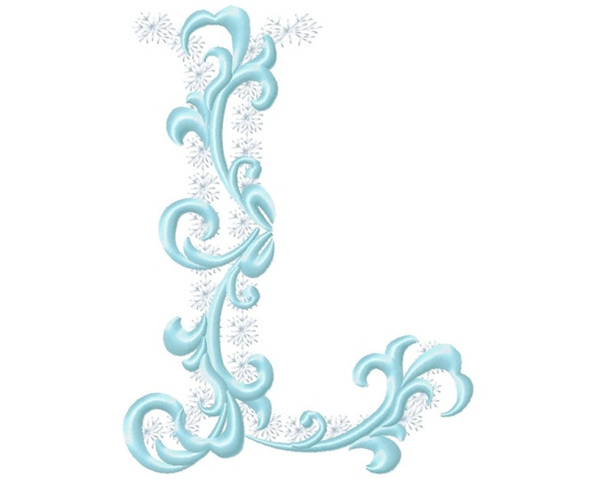 Frozen snow Christmas Individual letter L garden flag monogram snowflakes Font machine embroidery design 3, 4, 5, 6, 7, 8 in