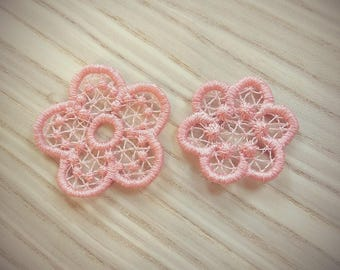 Mini delicate lace flowers 2 types, FSL flower mini free standing lace machine embroidery designs hoop 4x4 assorted sizes floral lace daisy