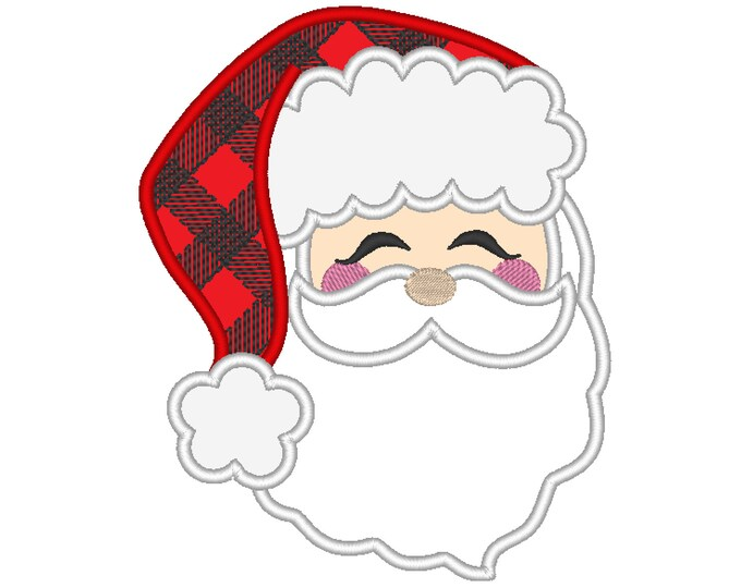 Santa Claus face Santa Hat Applique design  - machine embroidery design - Santa applique embroidery design
