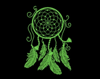 Dream catcher/ Glow in the dark special designed machine embroidery / sizes 4x4 5x7 6x10 8x8 /