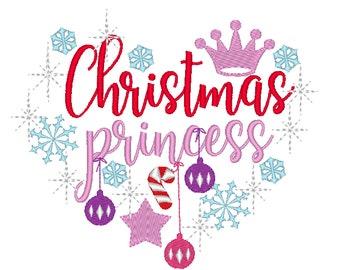 Christmas Princess - machine embroidery designs - 4x4 5x7 6x10 Santa, Believe, magic, wonderful, Warm winter wishes, Merry Christmas