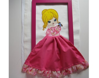 Doll with bird - machine embroidery applique designs 3D skirt, in the hoop multiple sizes for hoops 4x4, 5x7 and 6x10