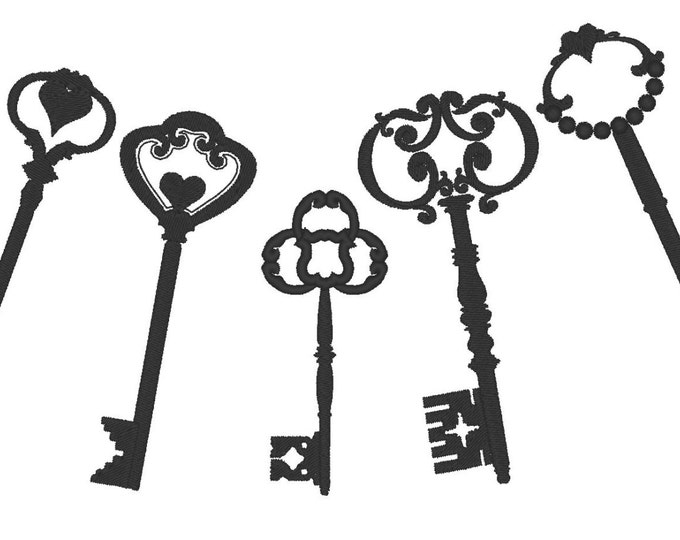 Skeleton keys for steampunk style projects  - machine embroidery designs and ITH felties  INSTANT DOWNLOAD