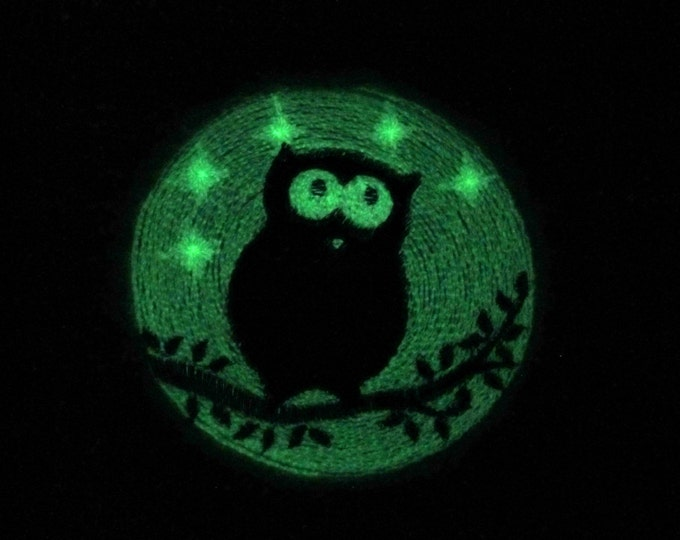 Love night owl / Glow in the dark special designed machine embroidery / sizes 4x4 and 5x7 / file