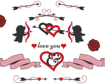 Arrows Angels Cupids cupid  wedding Split and mini font Set - 2, 3, 4 and 5 inches - embroidery designs INSTANT DOWNLOAD